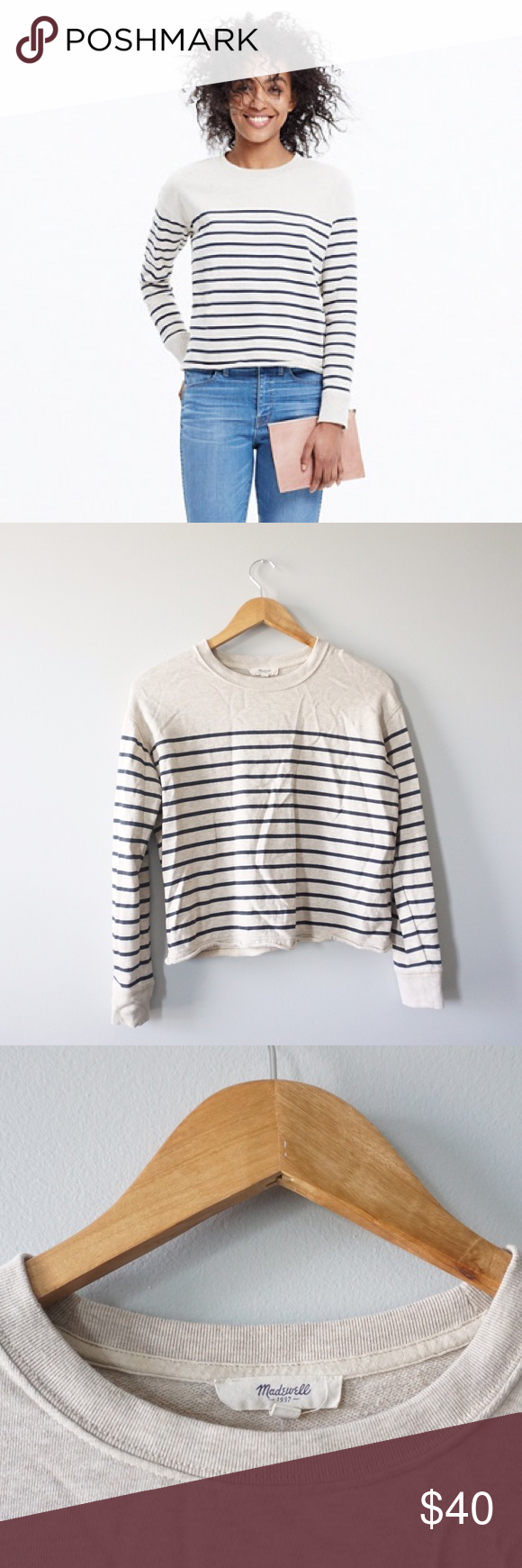 Madewell Cutoff Sweatshirt in Stripe Madewell cutoff striped pullover size extra small. Long sleeves. 100% cotton. Cropped fit. 20 inches long, bust 20 inches. True to size. No stains or holes. Madewell Tops Sweatshirts & Hoodies