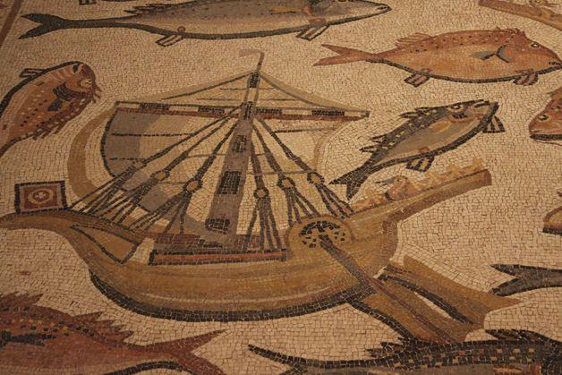 Roman Mosaic. Ship and Fishes. Lod (Colonia Lucia Septimia Severa Diospolis), Israel.
