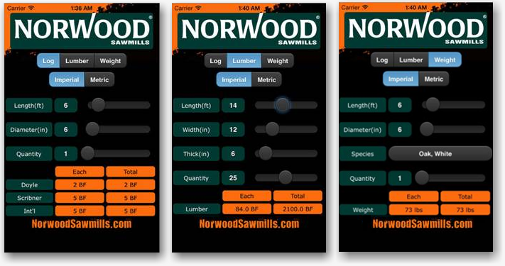 Norwood Sawmill Calculator Mobile App for Apple and Android