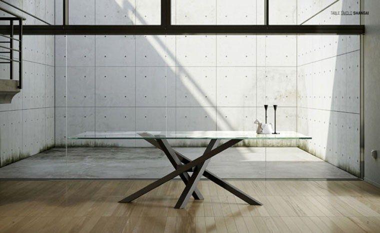 Tavolo da pranzo da salotto rettangolare in cristallo design ...