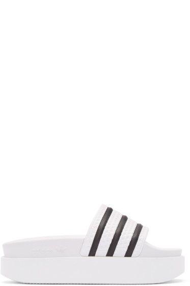 9039d4e789a adidas Originals - White Adilette Bold Slide Sandals