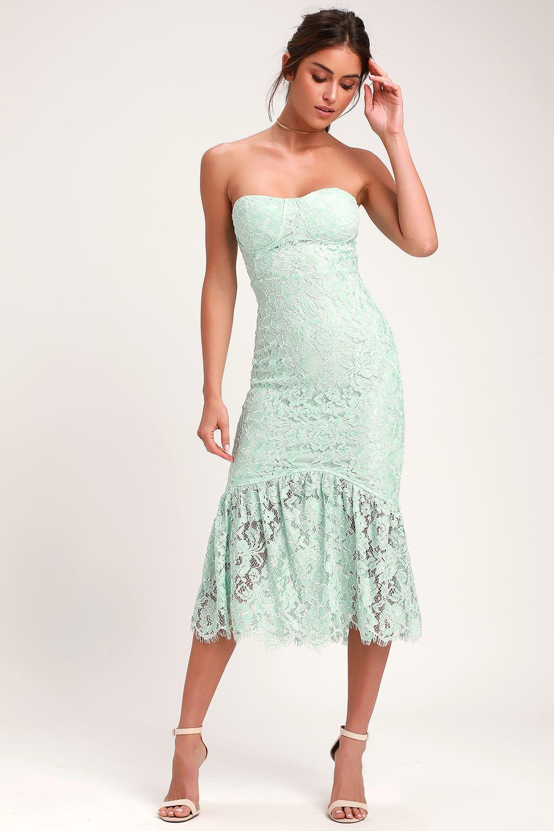 Divine nights mint green lace strapless midi dress