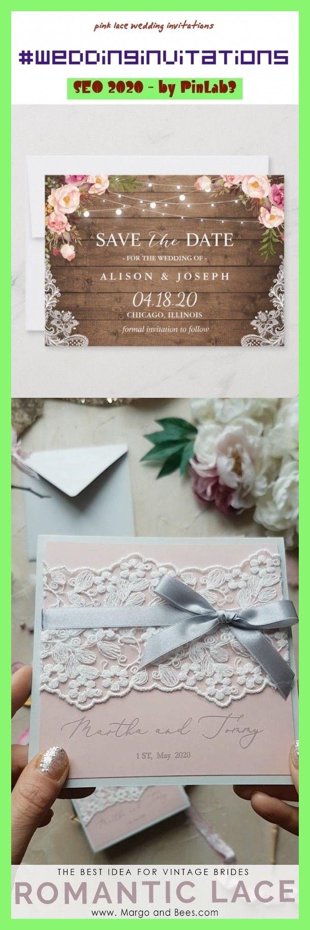 Pink Lace Wedding Invitations Wedding Invitations Spitzehochzeitseinla In 2020 Lace Wedding Invitations Wedding Invitations Rustic Lace Lace Wedding Invitations Diy