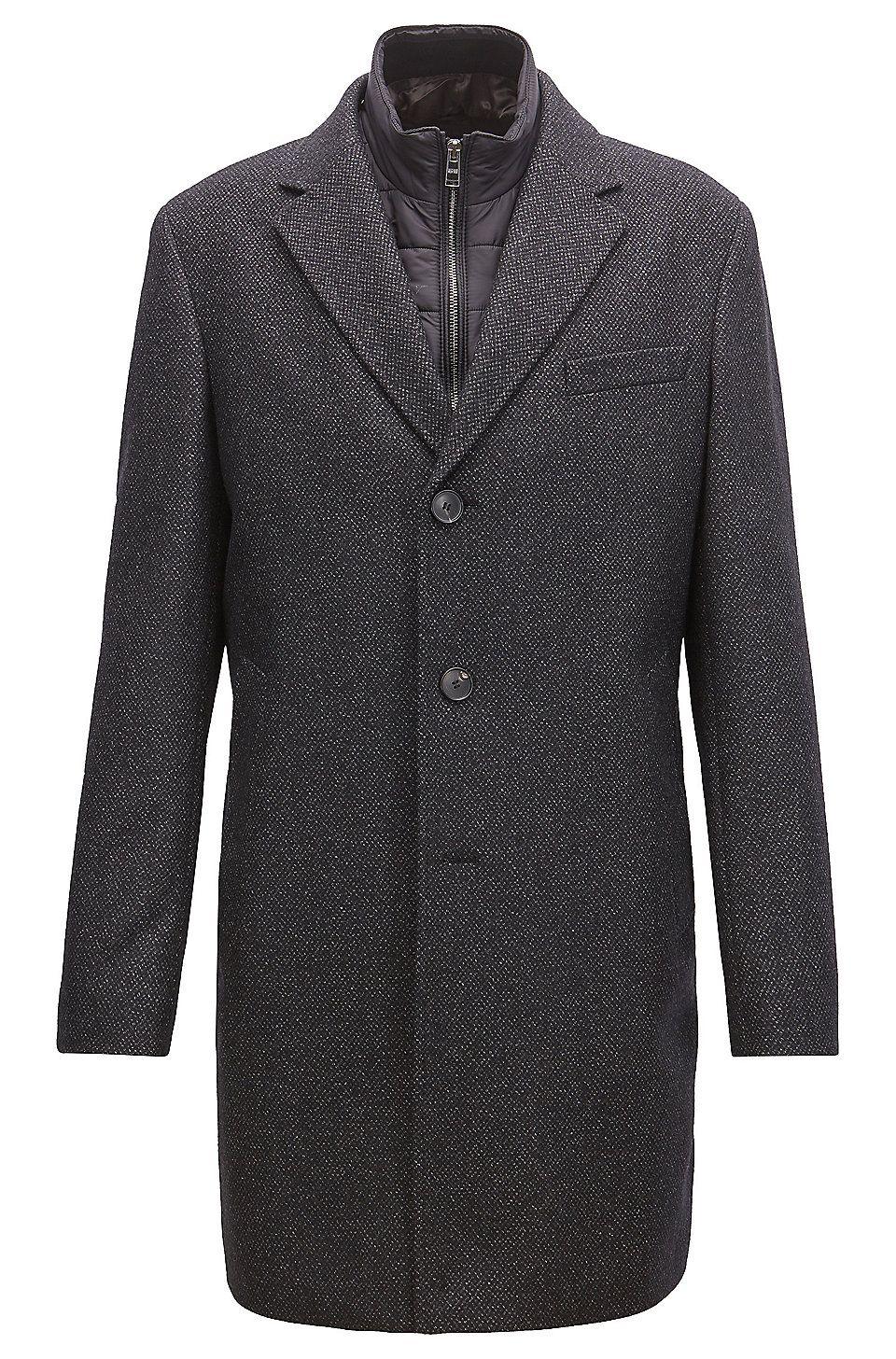 Hugo Boss Slim Fit Wool Blend Coat With Detachable Inner Bib Dark Grey Formal Coats From Boss For Men In The Official Hu Wool Blend Coat Slim Fit Formal Coat [ 1456 x 960 Pixel ]