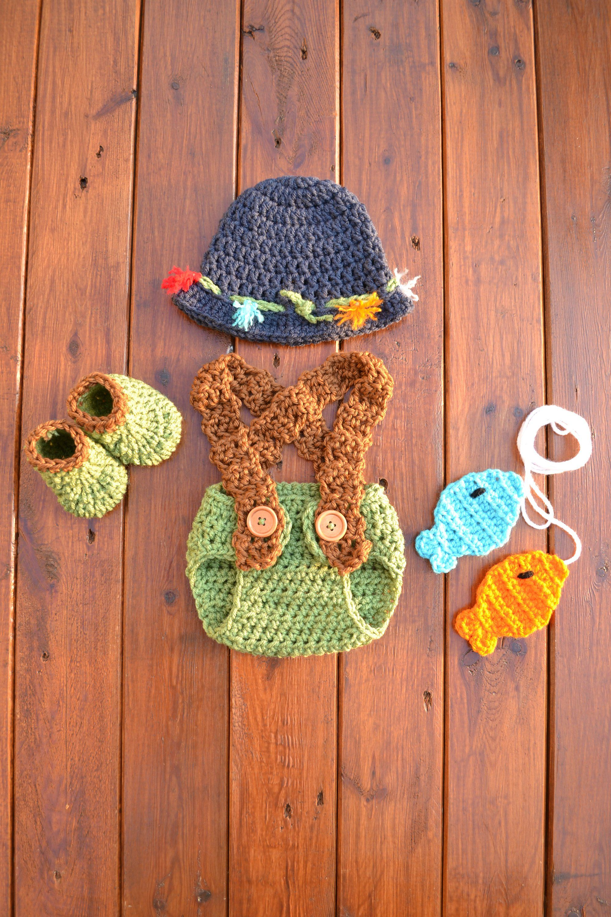 be4ed2235 Crochet Newborn Baby Fishing Fisherman Outfit Set Newborn Boy Photo Outfit  Baby Fishing Hat Baby Photography