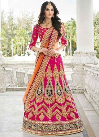 Dazzling Pink And Orange A line Bridal Lehenga sarees  http://www.angelnx.com/Sarees/Lehenga-Sarees