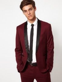 Asos Skinny Fit Tuxedo Suit Jacket In Burgundy Polywool | Men's