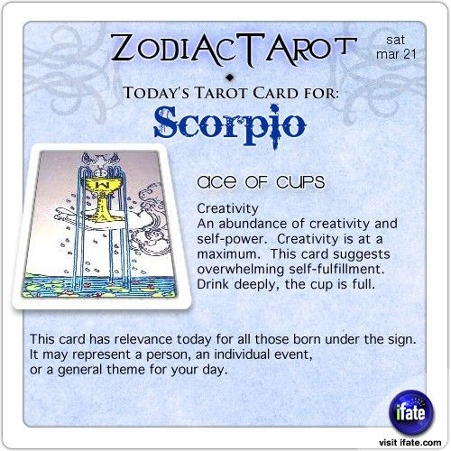 Zodiac Tarot for March 21: Scorpio Not all horoscopes are created equal.  Visit iFate.com Astrology today!