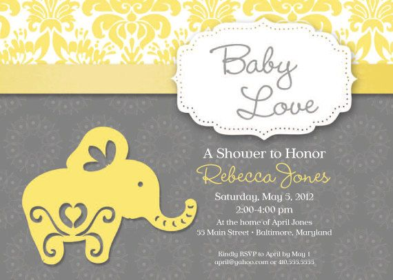 elephant theme baby shower invitation grey and yellow   elephant theme,