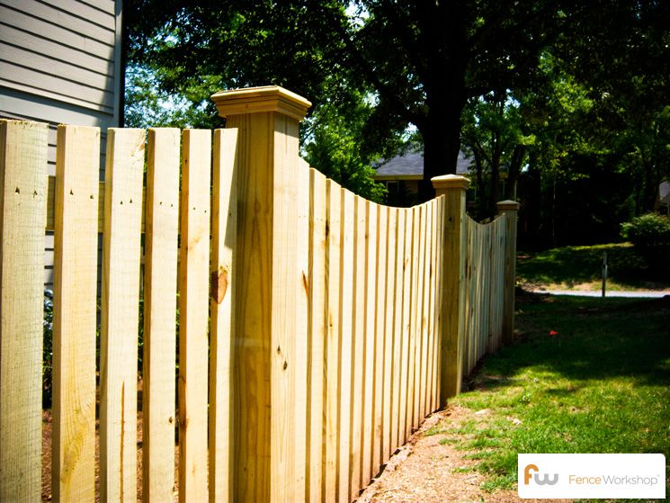 Traditional Scalloped Picket Fence With 6x6 Posts