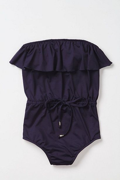Navy Ruffled Front Tie One Piece Bathing Suit