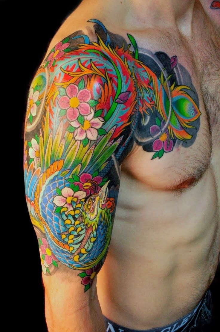 Bright Color Phoenix Tattoo On Arm Real Photo Pictures