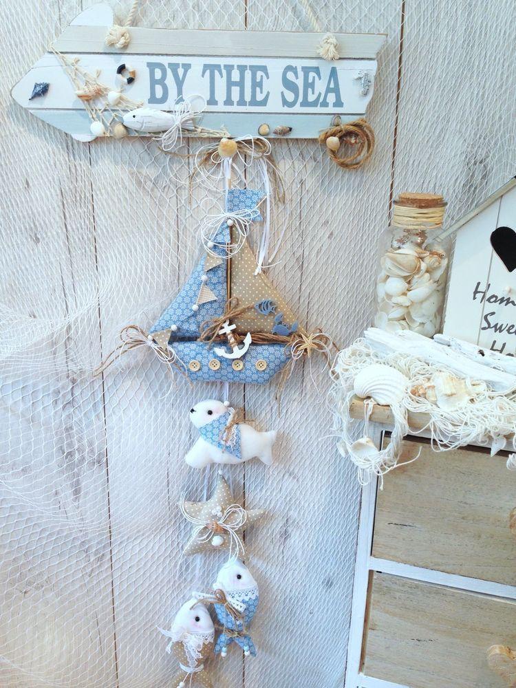 ❤ Girlande Beach-Boot-Fische-Maritim-nach Tilda Art-Landhaus-Deko ...