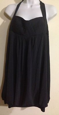 BCBG Max Azria Bubble Dress Baby Doll Pleated Bust Navy Blue Size M | eBay
