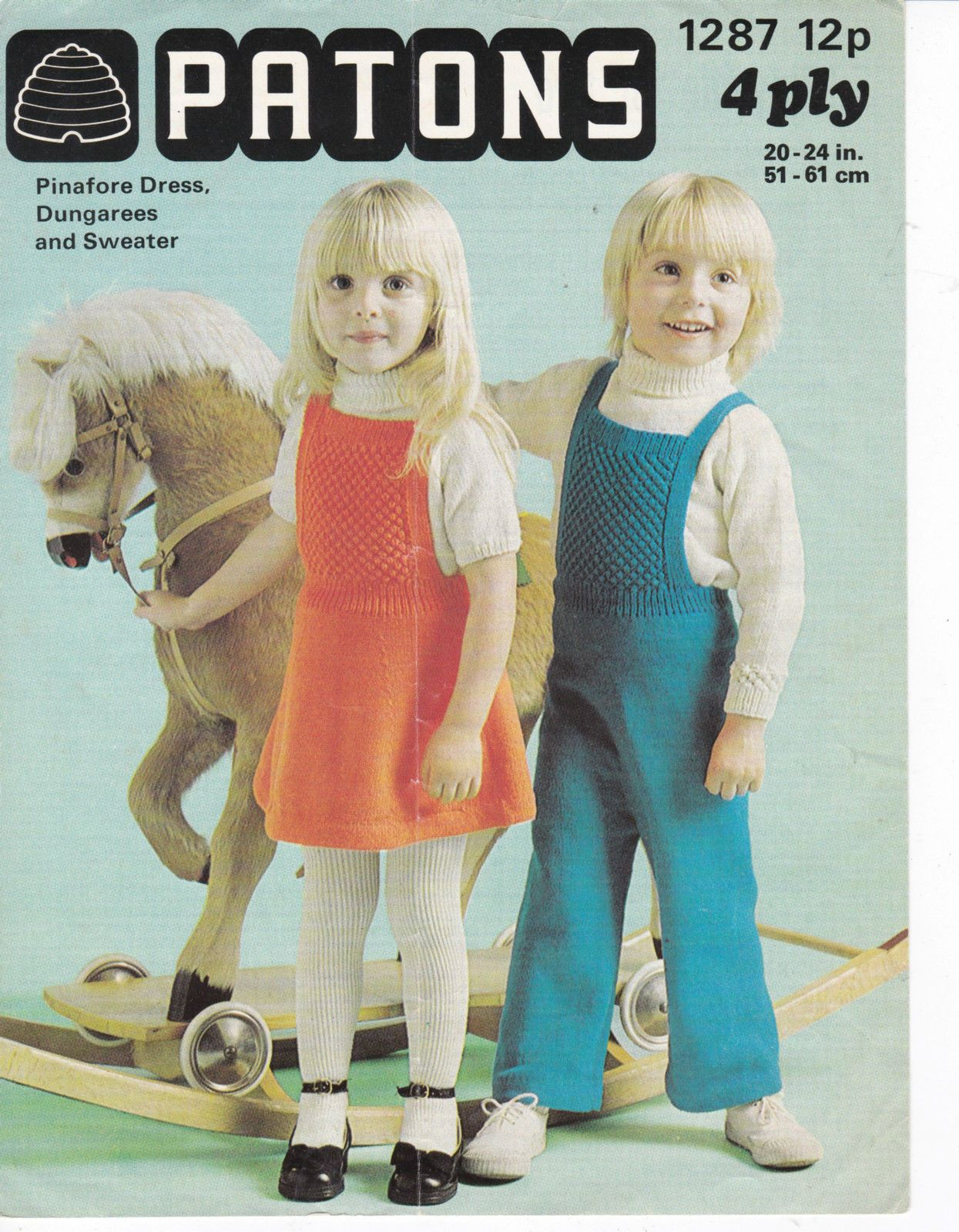 vintage PATONS knitting pattern toddlers pinafore dungarees sweaters ...