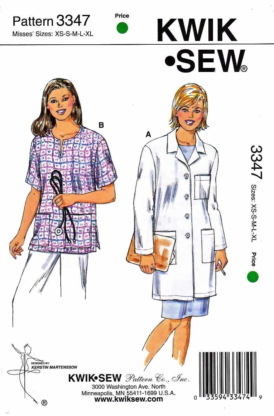 Kwik sew sewing pattern 3347 misses sizes xs xl 8 22 lab coat kwik sew sewing pattern 3347 misses sizes xs xl 8 22 lab jeuxipadfo Choice Image