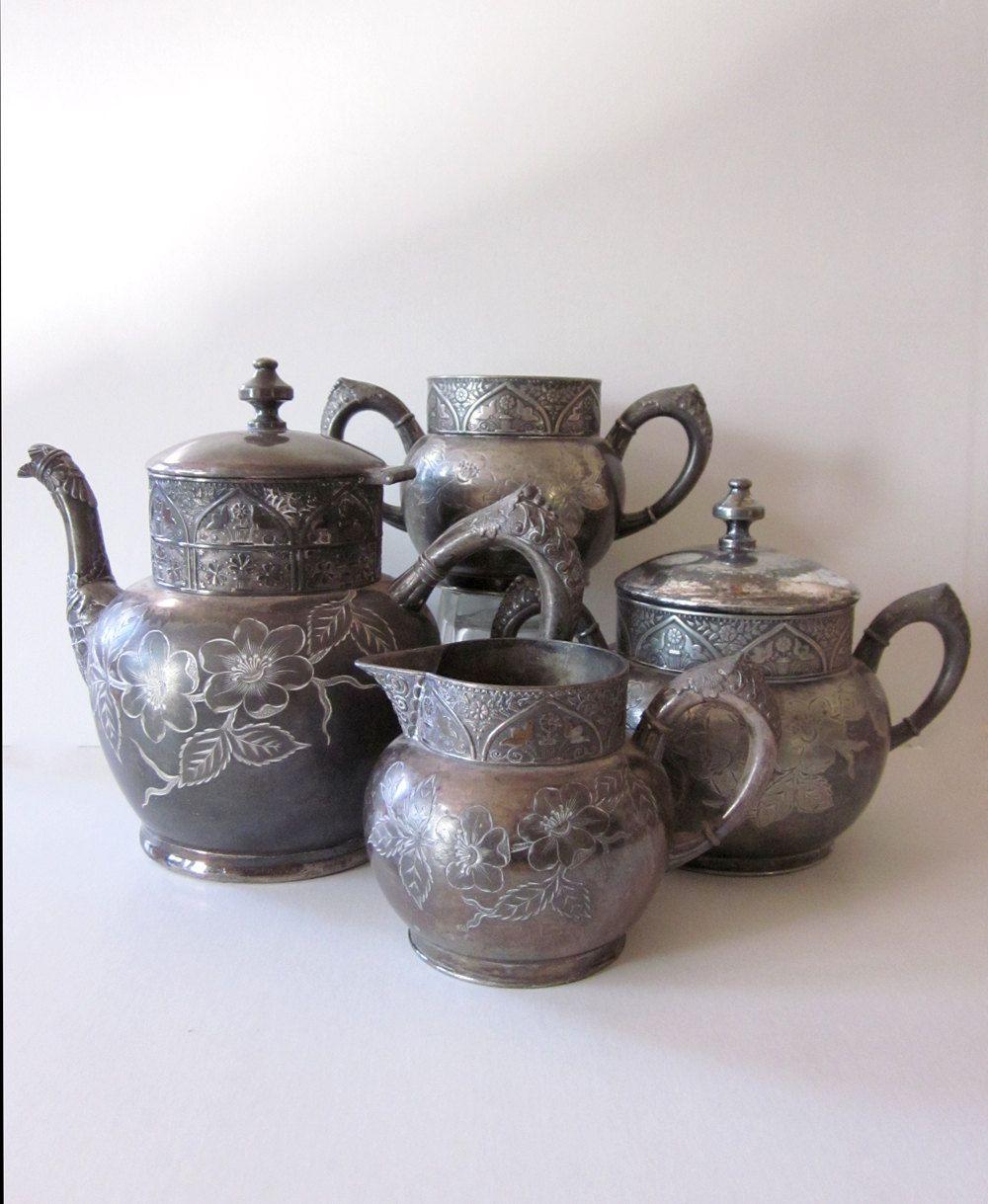Antique silver tea service hartford silver tea pot sugar
