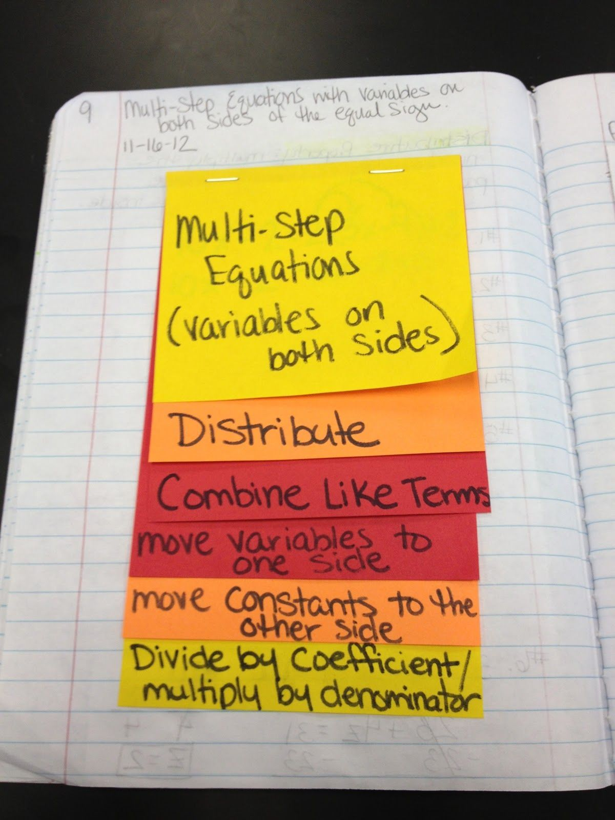 Multi-Step Equations (Variables on Both Sides) Foldable