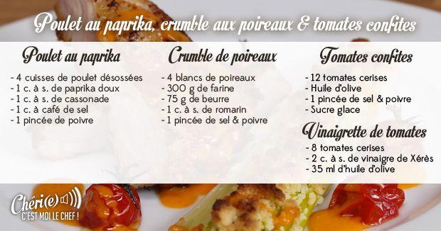 Poulet au paprika crumble de poireaux tomates confites - C est au programme recettes cuisine france 2 ...
