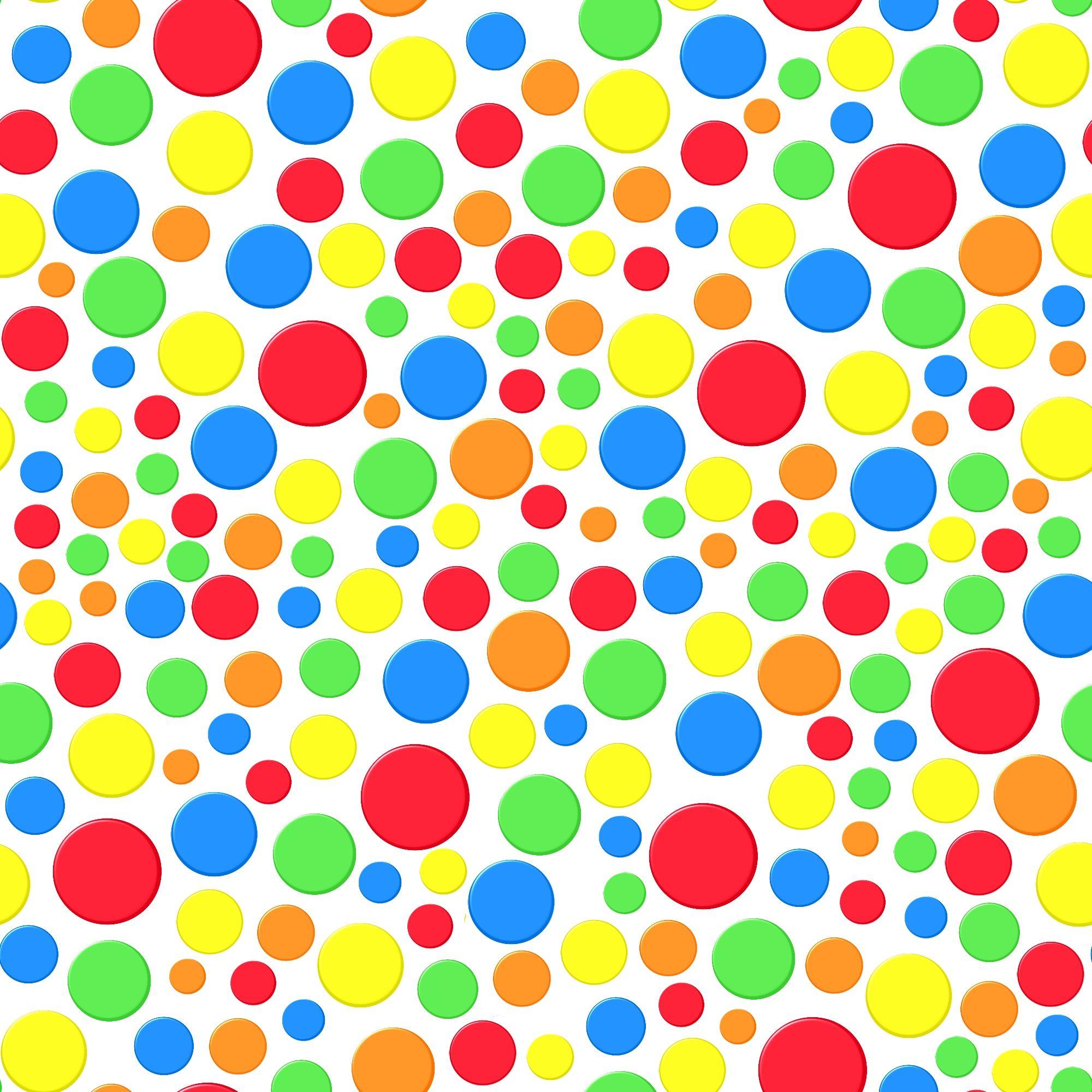 Stoffdesign:Bunte Punkte auf weißem Hintergrund