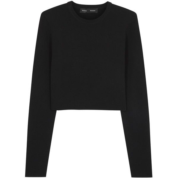 Proenza Schouler Black Cropped Ribbed Top ($285) ❤ liked on ...