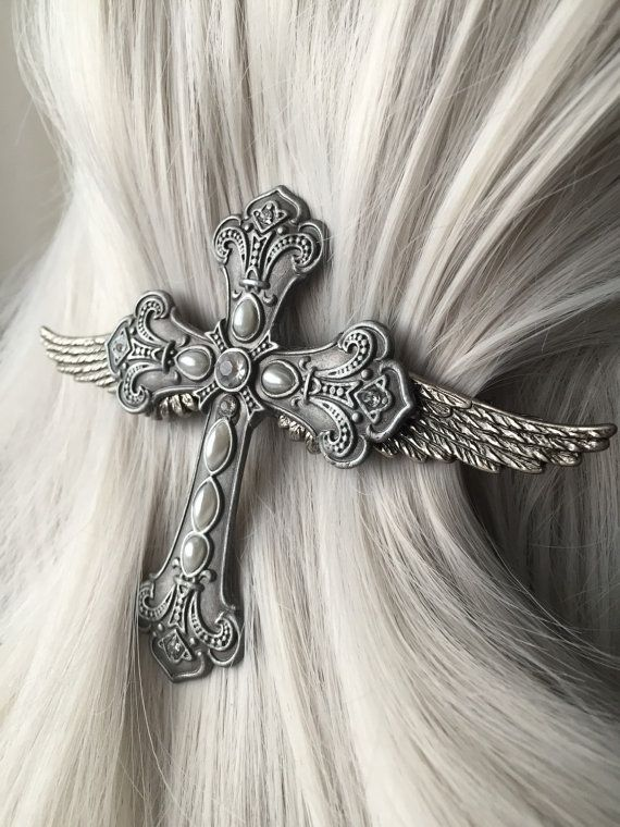 Cross Jewelry - Cross Hair Accessories - Gothic Fashion - Wing Jewelry