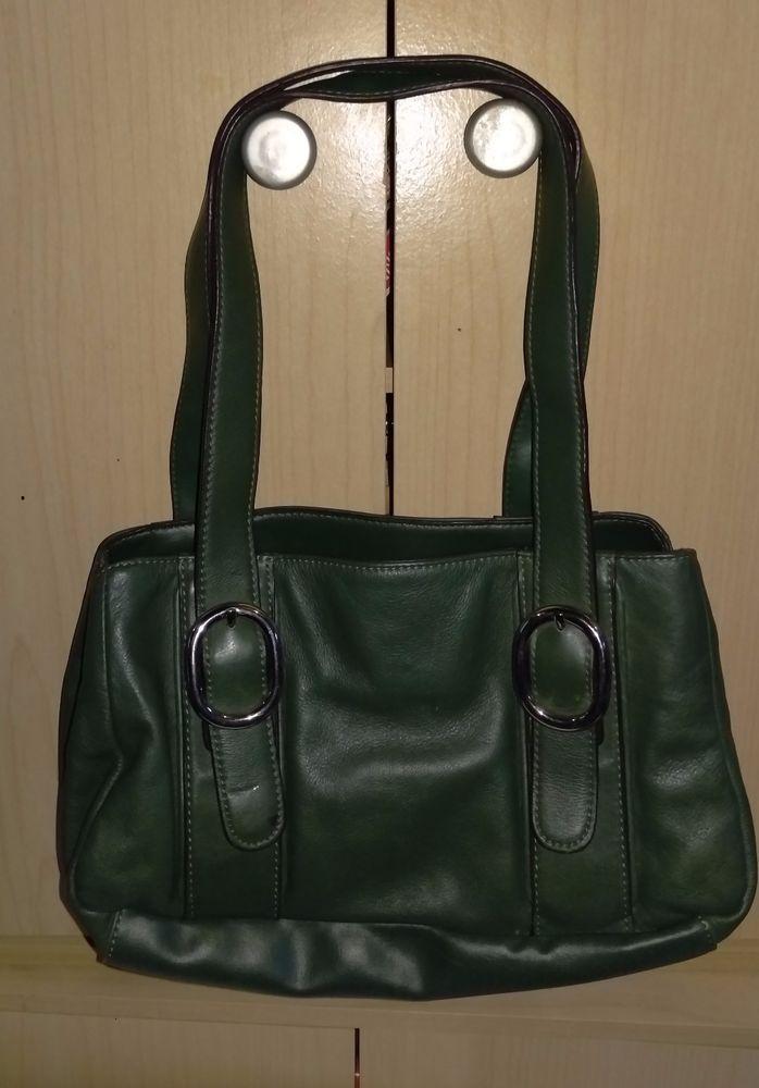 Worthington Solid Green Purse Cowhide Leather Handbag Vinyl Trim