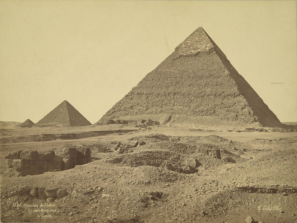 https://flic.kr/p/6AAsPy | Giza. Pyramids of Khafre and Menkaure (Chefren and Mykerinus) | Collection: A. D. White Architectural Photographs, Cornell University Library Accession Number: 15/5/3090.01490  Title: Giza. Pyramids of Khafre and Menkaure (Chefren and Mykerinus)  Photographer: J. Pascal Sébah (Turkish, active 1860-1880)   ca. 2575 BC-ca. 2465 BC (4th Dynasty) Photograph date: ca. 1865-ca. 1889   Location: Africa: Egypt; Giza  Materials: albumen print  Image: 10.7087 x 14.252 in…