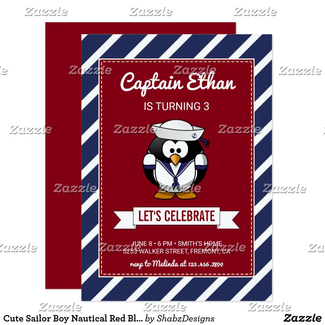 Cute Sailor Boy Nautical Red Blue Stripes Birthday Card | Birthdays ...