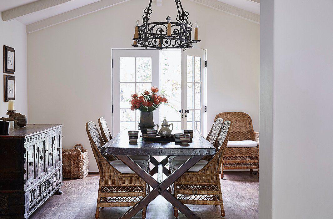 Inside Kendall Conrad's Easy Elegant Santa Barbara Home  Rattan Classy Kendall Dining Room Decorating Design