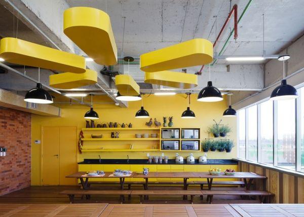 Walmart brazil office design by estudio guto requena yellow