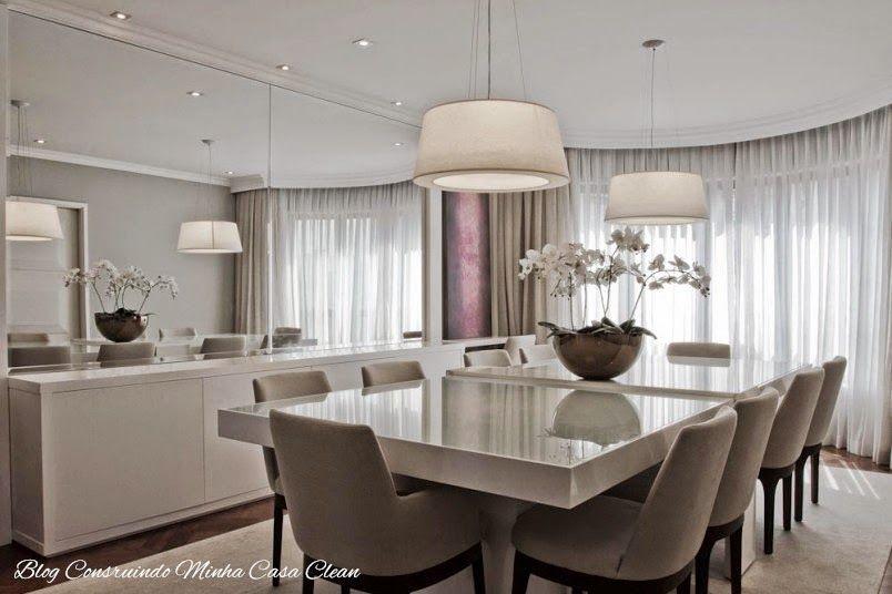 Salas de jantar decoradas com mesas brancas veja dicas for Modelos de mesas