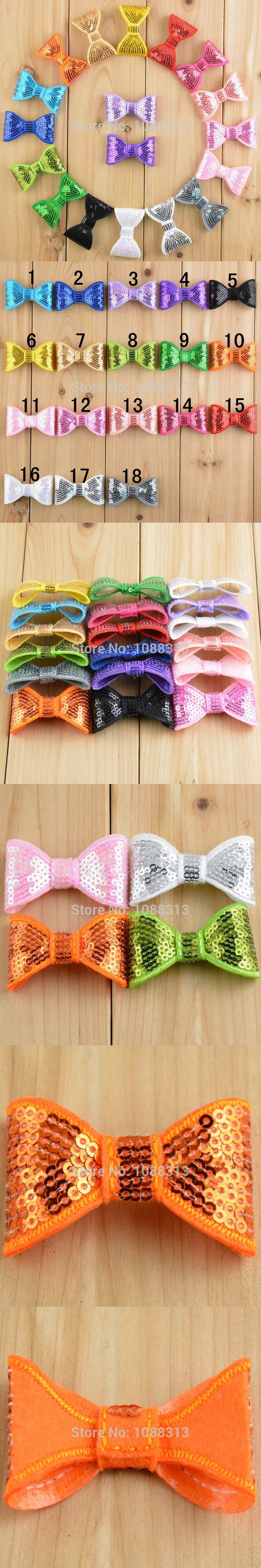 Free shipping 60pcs 5*3CM handmade sequin knot bows for diy jewelry making Toddler baby headband hairband decoration bows
