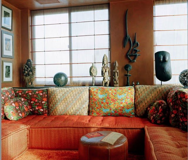 17 Ethnic Living Room Designs Ideas: LIVING ROOM WITH AFRICAN ART & SOFA PILLOWS MADE FROM