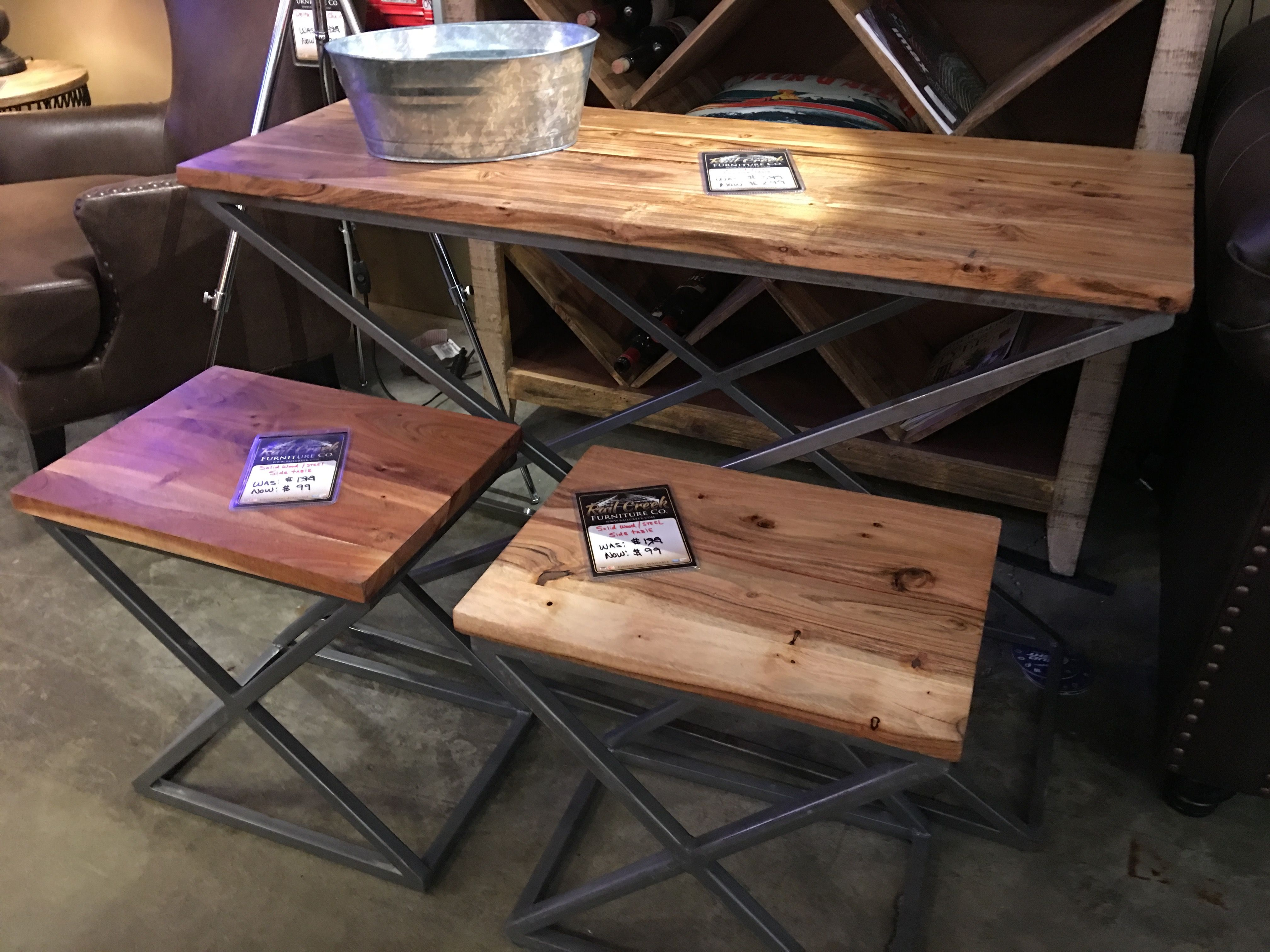 Metal Wood Accent Tables Rail Creek Furniture Co
