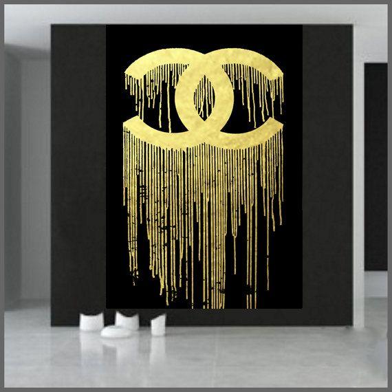 chanel logo chanel dripping orginal art work chanel