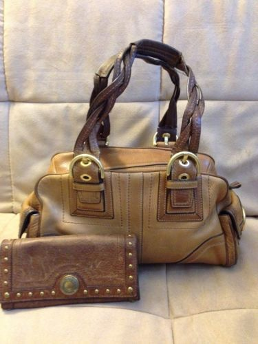 Authentic Coach Tobacco Mia Satchel and Wallet