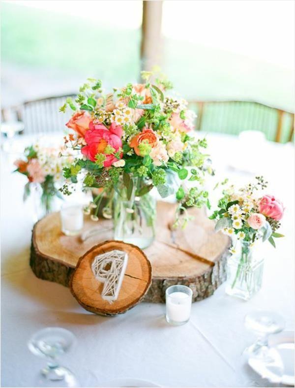 Deko Mit Blumen Und Holzstamm Tischdeko Pinterest Wedding