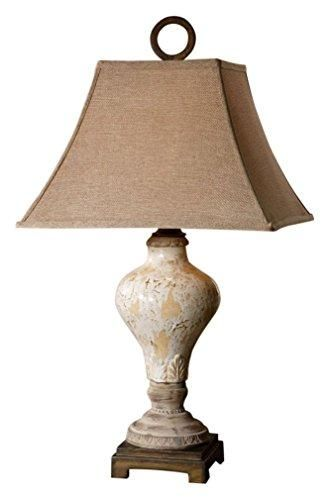 Uttermost Distressed Crackled Ivory Ceramic Rustic Bronze