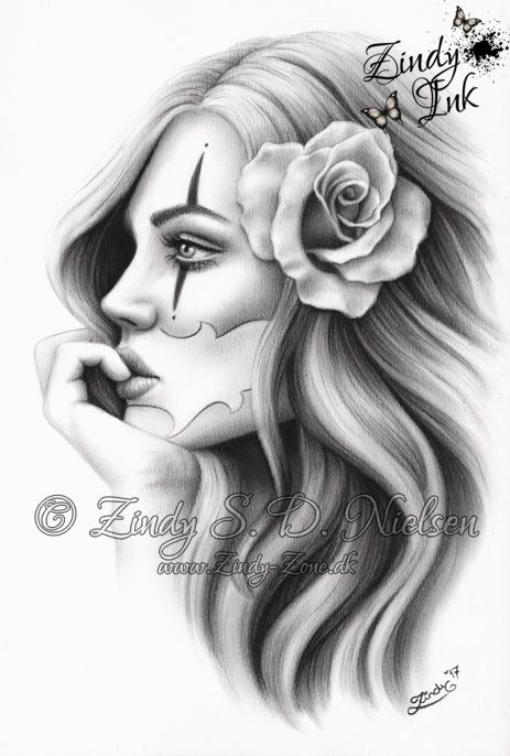 chicano girl beauty tattoo design by zindyink zindy s d nielsen zindyink tattoo art. Black Bedroom Furniture Sets. Home Design Ideas