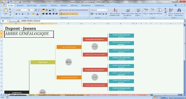 Microsoft Excel Arbre Genealogique Sur 5 Generations Page D Accueil Arbre Genealogique Genealogie Modele Arbre Genealogique