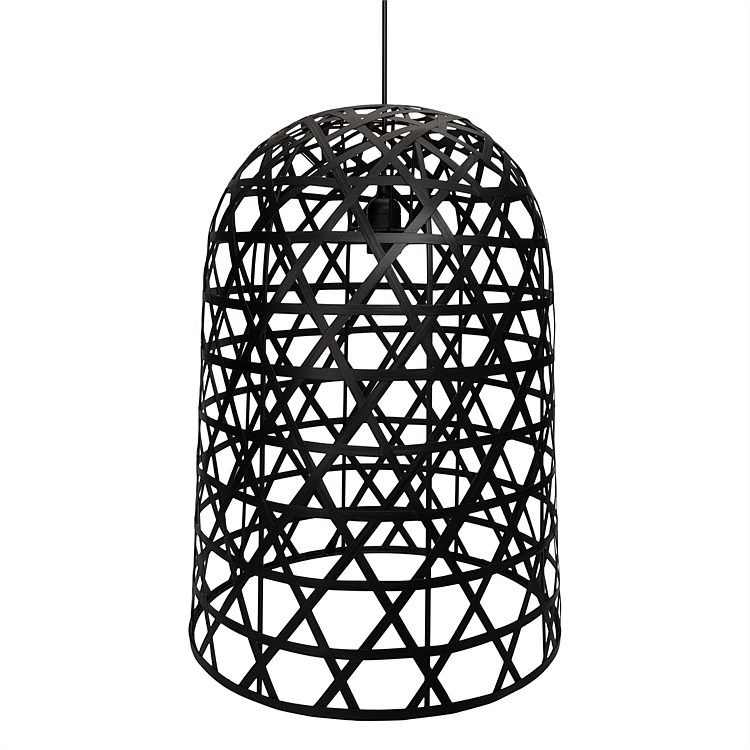 Freedom Bell Basket Ceiling Pendant Open Weave Black In