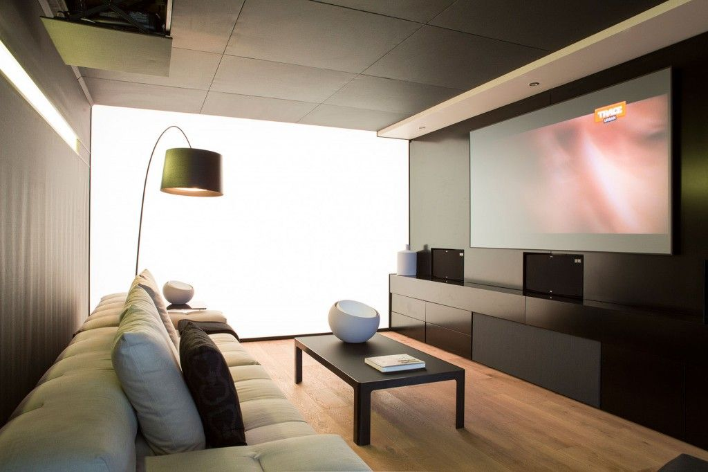 Architecture: Modern Home Theater Room With Beige Comfy Sofa And ...