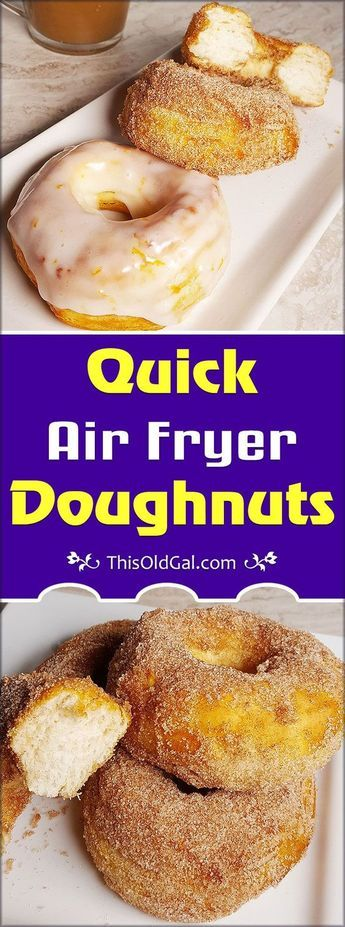 Got a craving for Donuts, but don't want to leave the house? Try these Quick Air Fryer Doughnuts and enjoy them with your morning coffee. via @thisoldgalcooks #airfryerrecipes