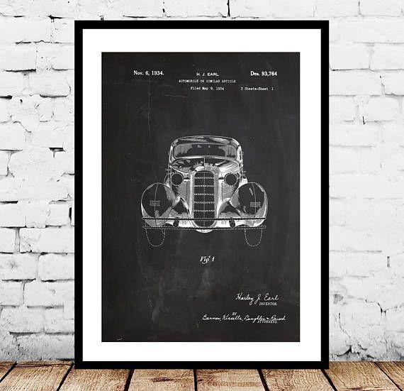 Vintage Automobile Patent, 1934 Car Patent Poster, Vintage - new old blueprint art