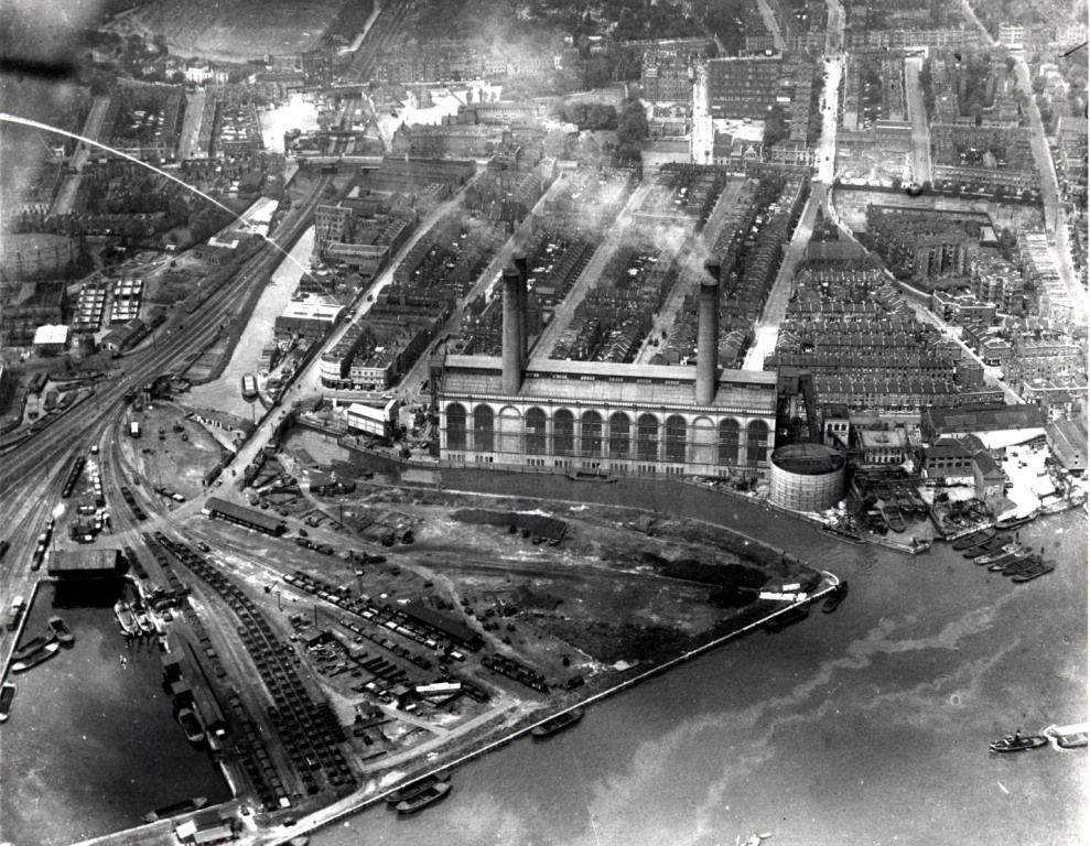 Aerial view of London with Battersea power station 1959 Poster