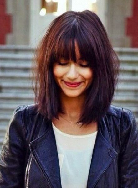 Bob Frisuren Mittellang Mit Pony Frisuren Pinterest Bobs Long