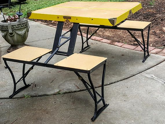 1947 Vintage Wooden Camper Camping Folding Picnic Table Handy Table Chairs Milwaukee Stamping Folding Picnic Table Picnic Table Table And Chairs