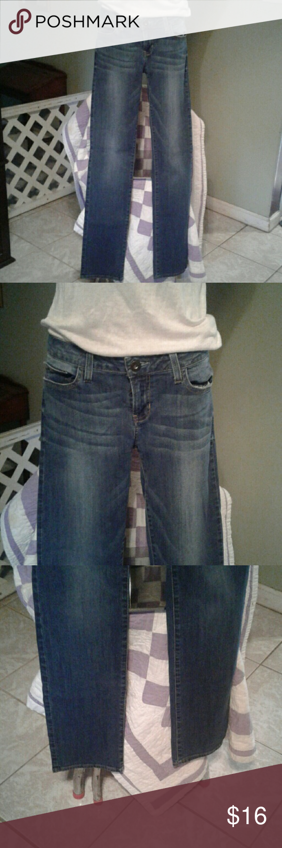 Guess jeans Guess jeans with a material content of 98% cotton 2% spandex. The Measurements are approximately 43 inches long 33 inches in cm and 8 inches rise. Guess  Jeans Straight Leg