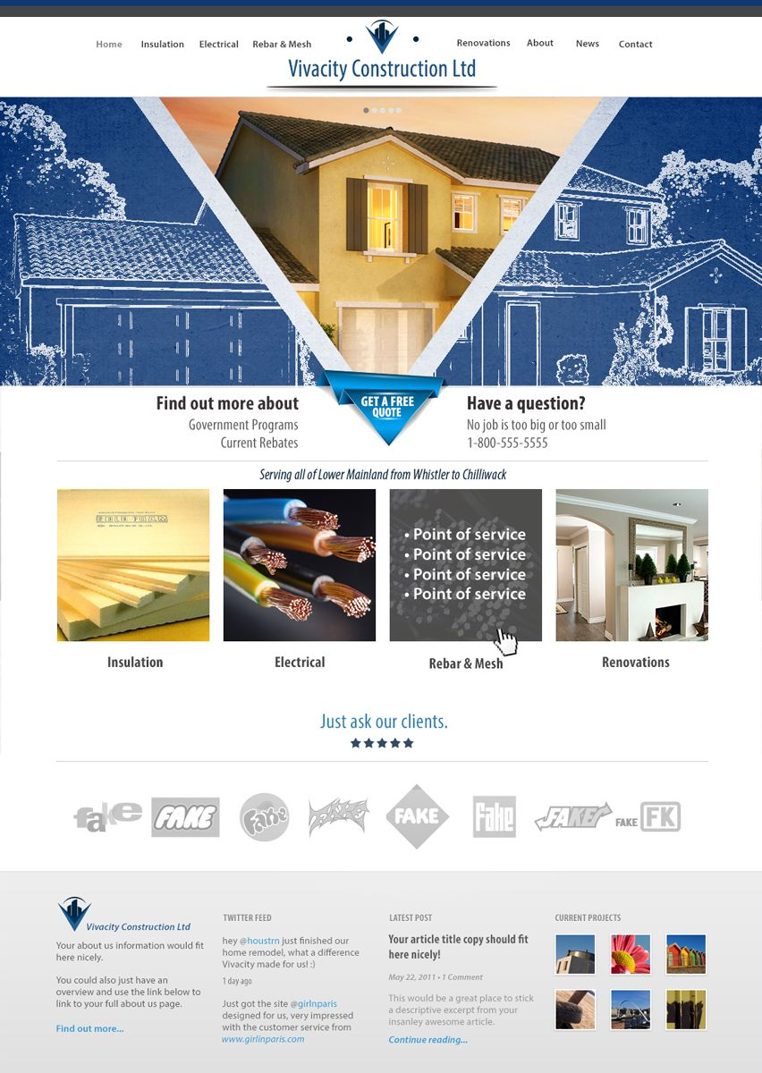 Simple and clean site design for construction company in Canada ...